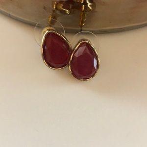 Burgundy & Gold Stone Earrings